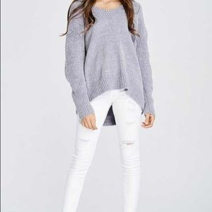 Sweaters - V-Neck Sweater in Silver!